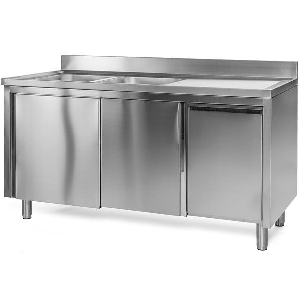 Spülschrank Edelstahl 160 x 60 x 85 cm mit Abfallbehälter, 2 Becken