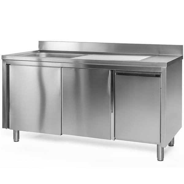 Spülschrank Edelstahl 100 x 60 x 85 cm mit Abfallbehälter, 1 Becken