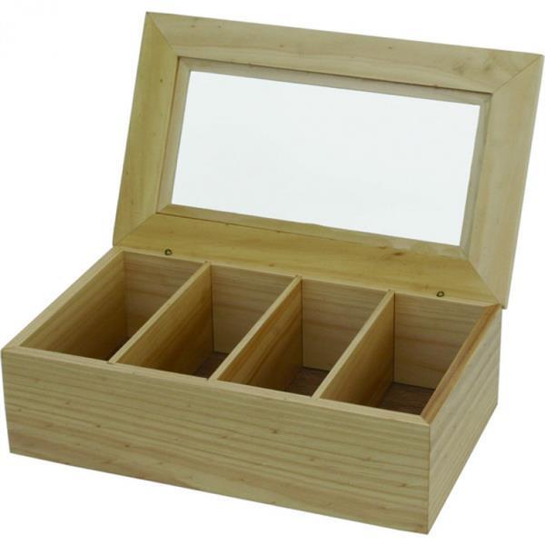 Teebox - hell, 4 Kammern - 34x20x10 cm