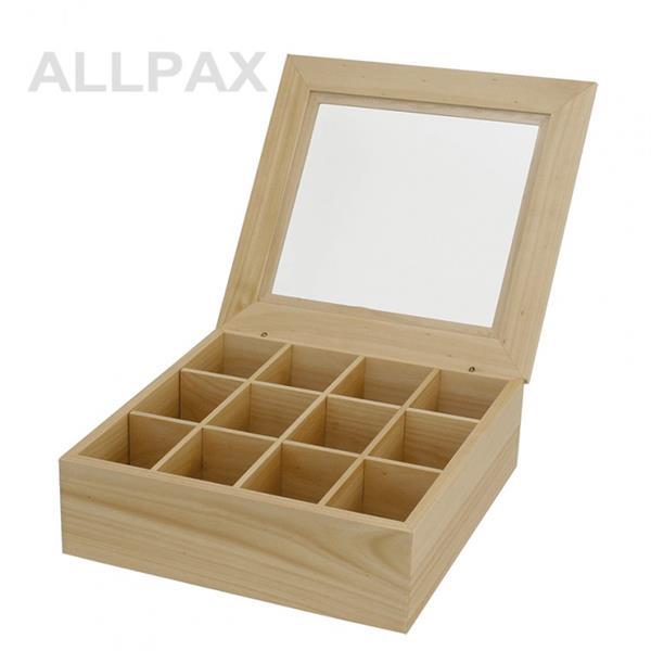 Teebox - hell, 12 Kammern - 32x28,5x10 cm