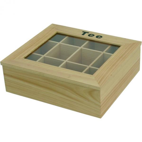 Teebox - hell, 12 Kammern - 32x28,5x10 cm - Prägung Tee