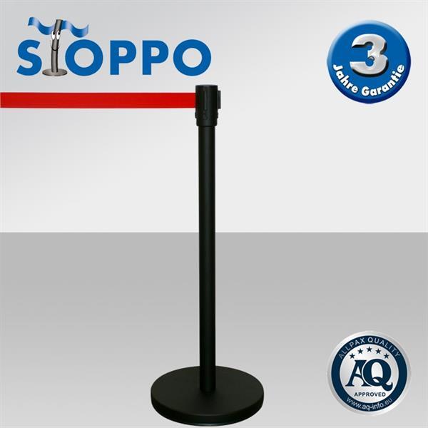 Eleganter STOPPO Abgrenzungsständer, schwarz lackiert, Zugband rot