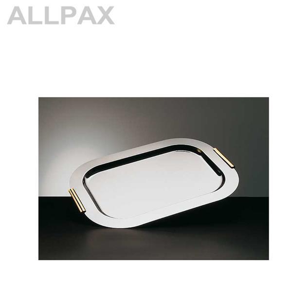 Tablett -FINESSE- rechteckig, Edelstahl mit vergoldeten Griffen