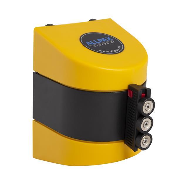 STOPPO XL Magnet Absperrband ausziehbar Wandmontage gelb schwarz 10 m, Kassette gelb
