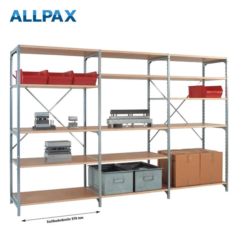 Manuflex Fachbodenregal Megaflex - Anbauregal mit 7 Fachböden Holzverbund Nr. 29 (2 Diagonalen einfa