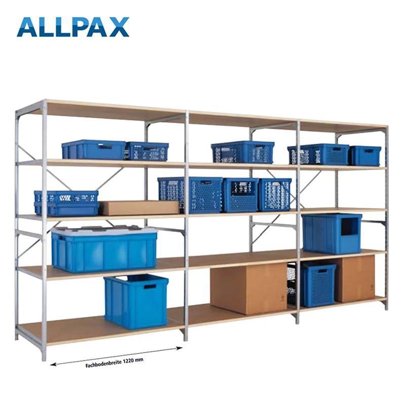 Manuflex Fachbodenregal Megaflex - Anbauregal mit 7 Fachböden Holzverbund Nr. 31 (2 Diagonalen einfa