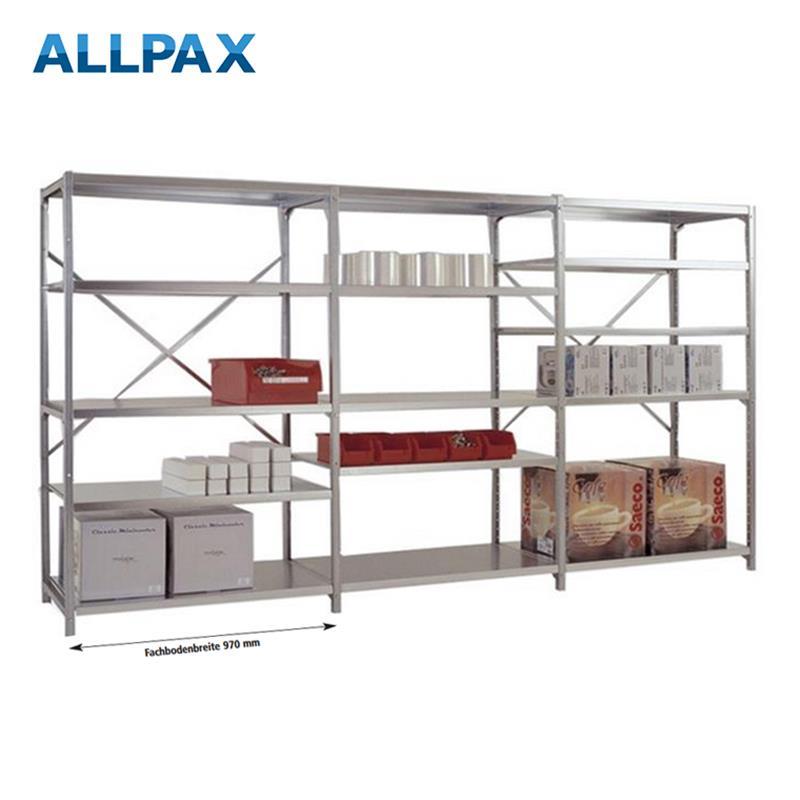 Manuflex Fachbodenregal Megaflex - Grundregal mit 7 Fachböden Stahlboden glanzverzinkt Nr. 40 (2 Dia