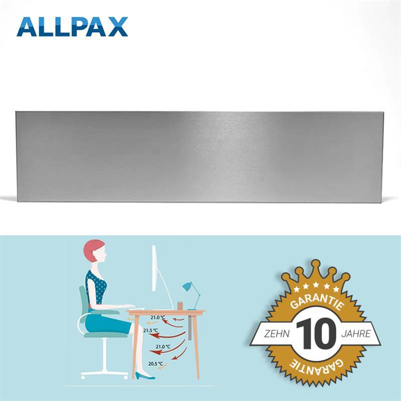 Arbeitsplatz-Infrarotheizung 200 Watt aus Edelstahl, 80 x 20 cm