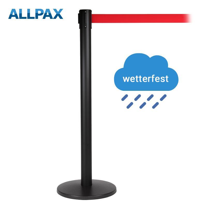 Stoppo XL Abgrenzungsständer schwarz, 3,4m, wetterfest, Zugband rot