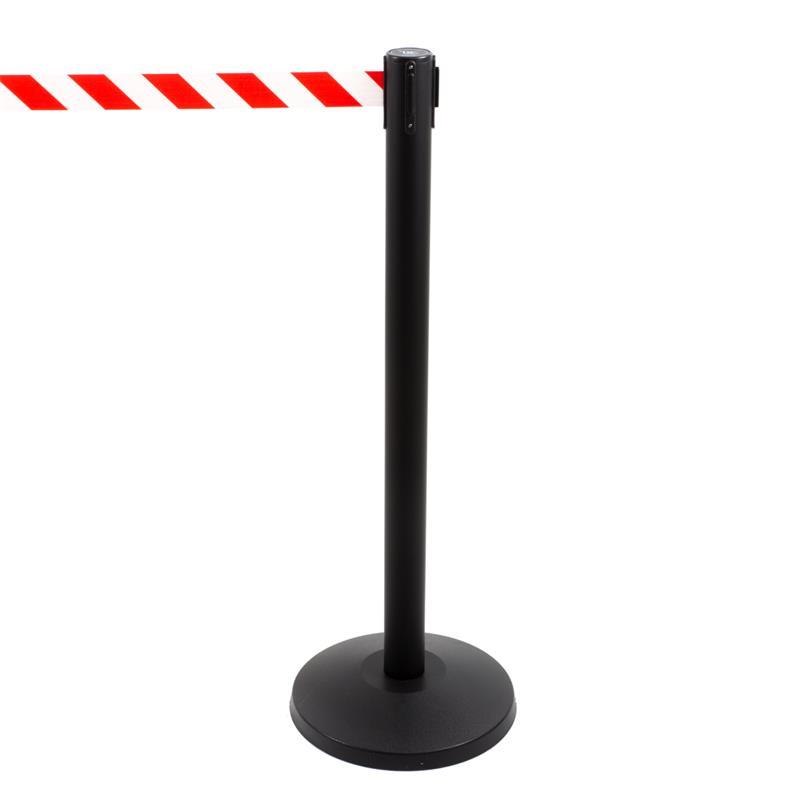 Stoppo XL Abgrenzungsständer schwarz, 3,4m, Zugband rot / weiß