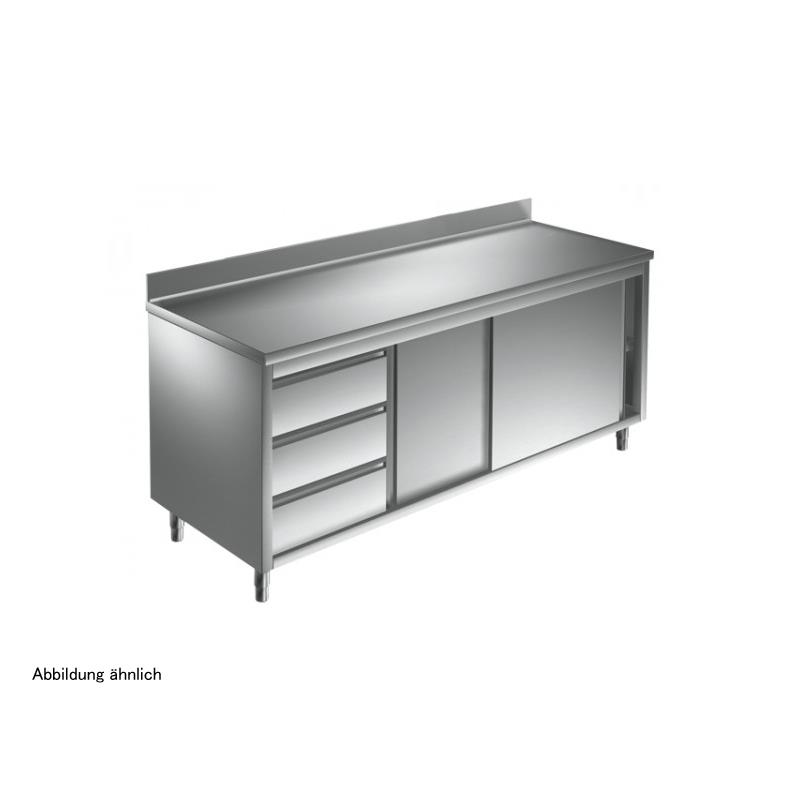 Arbeitsschrank 1400 x 600 mm - mit Schiebetüren, 3 Schubladen