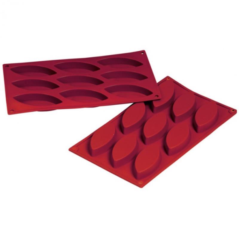 Silikon-Backform, Schiffchen, 9 Formen - 10x4,4x1,5 cm