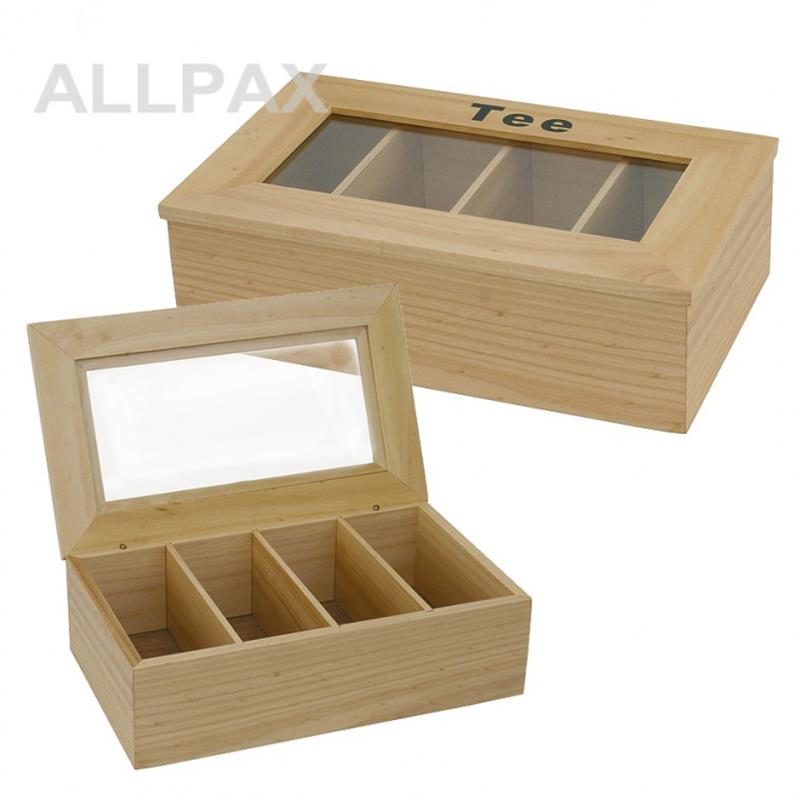 Teebox - hell, 4 Kammern - 34x20x10 cm - Prägung Tee
