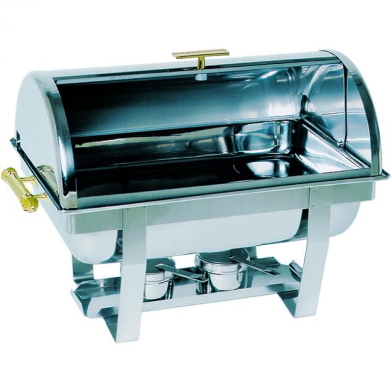 Chafing Dish GN 1/1-65 mm, Roll Top Deckel und Messinggriffen