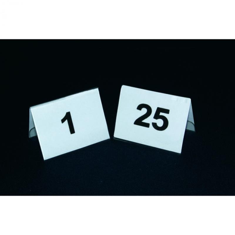 Satz Tischnummernschilder 1-25, gedruckt auf Plastik, 5x3,5 cm