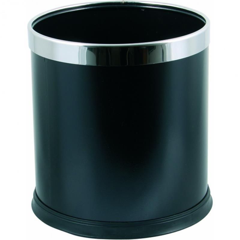 Metall-Papierkorb mit Edelstahlring, schwarz