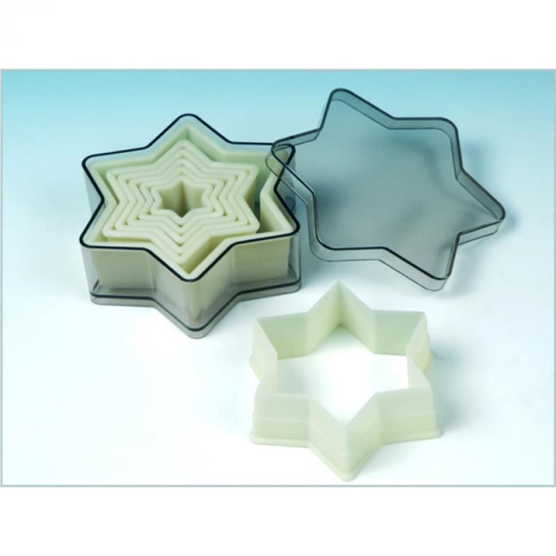 Nylon-Ausstechformen, Stern 6 Zacken, 3-12 cm, 7 Stück in Dose