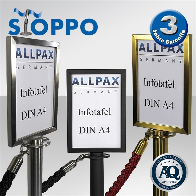STOPPO Info-Tafel, hoch, für Pfosten mit Kordeln