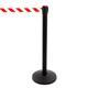 Stoppo XL afzetpaal zwart, trekband rood-wit gestreept