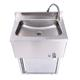 V2A roestvrijstalen handwasbak met kniebediening en onderkast